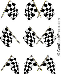Checkered flags set with double and single elements