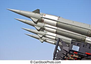 avión, combate, misiles, apuntado, T