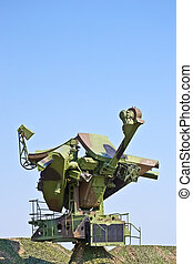 Russian soviet radar with camouflage netting designed and...