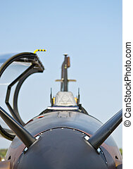 front view of propeller airplane close up