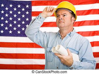 Patriotic Construction Worker - Construction worker with...