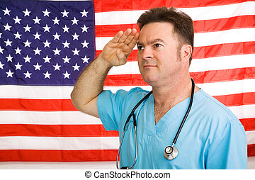 American Medic Salutes - Patriotic American doctor giving a...