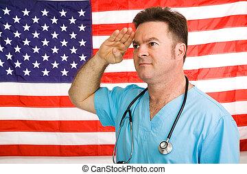 American Medic Salutes - Patriotic American doctor giving a...