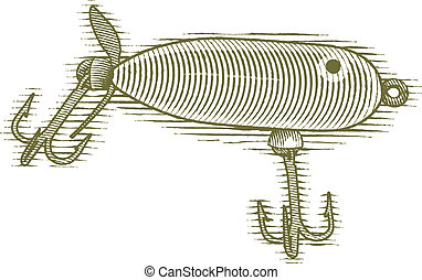 Woodcut Fishing Lure - Woodcut style illustration of a...