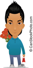 Cartoon guy with flowers and gift