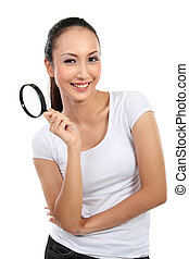 woman with magnifier glass
