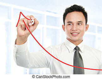 Young businessman drawing statistic arrow on screen with a...