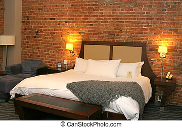 Furnished room with brick walls - Modern decorated room with...