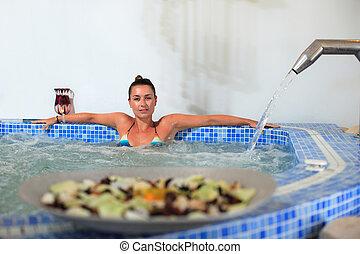 spa hydrotherapy woman waterfall jet
