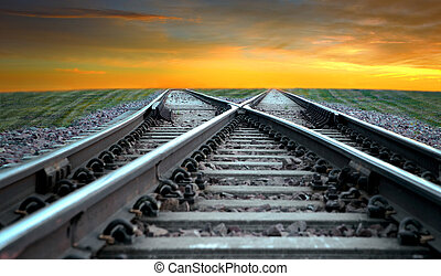 Railroad in sunset - Landscape with railroad disappearing...