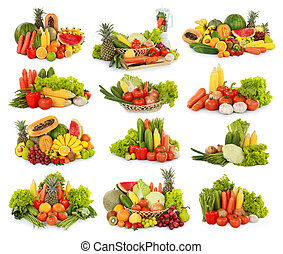 fruits and vegetables isolated on white background -...