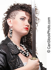 piercing woman curly girl and sword - Girl - Ear super...