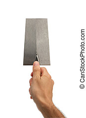 Hand holding a trowel