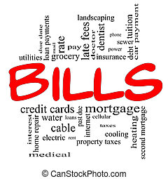 Bills Word Cloud Concept in red and black - Bills Word Cloud...