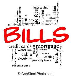 Bills Word Cloud Concept in red & black - Bills Word Cloud...