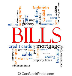 Bills Word Cloud Concept with great terms such as medical,...