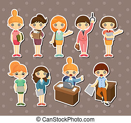 cartoon pretty office woman worker stickers
