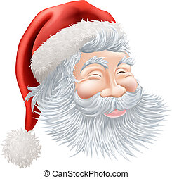 Christmas Santa Claus Face - Illustration of a happy cartoon...
