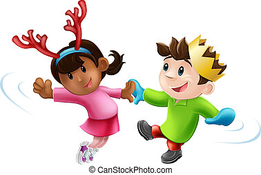Christmas party dancing - Cartoon of two children or young...