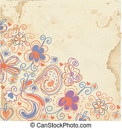Floral background on the paper texture design