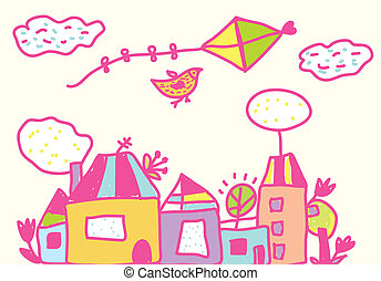 Kids funny background with kite, houses, flowers