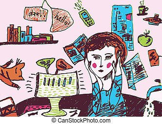 Girl is very busy and exhausted cartoon