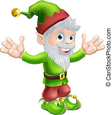 Garden gnome or elf - Cartoon happy smiling garden gnome elf...