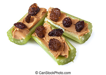 Celery Peanut Butter and Raisins - Ants on a log, celery...