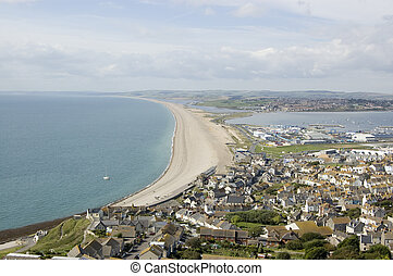 Chesil Beach from Portland, Dorset - View of the magnificent...