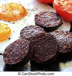 Black Pudding Breakfast - Breakfast of traditional black...