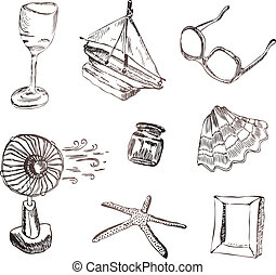Vector set of vocation icons Wine glass, boat, sunglasses,...
