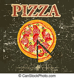 Pizza Menu Template in vintage retro grunge style vector...