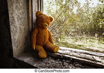 Old toy bear abandoned in the ruins Soviet toy 70s