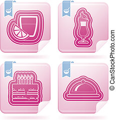 Food & drinks icons set, from left to right, top to bottom:...