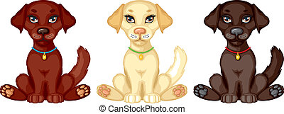 Three puppies - Cartoon brawn, pale and black little puppies