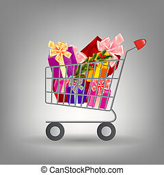 Shoping cart with Christmas gifts. Vector illustration