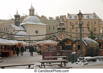 Christmas market in Krakow - Traditional Christmas market on...