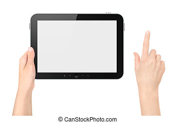 Holding Tablet PC With Touching Hand Isolated - Hand holding...