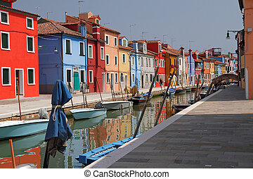 canal in Burano l - Burano little village on Venetian lagoon...