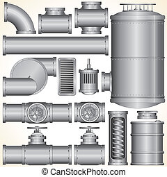 Vector Industrial Elements - Industrial Pipeline Parts Pipe,...