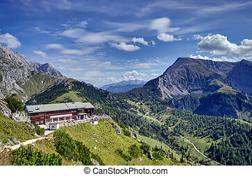 Alps in autumn - chalet in the mountain valley of Bavarian...
