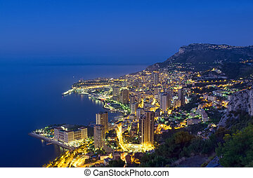 Monaco, Monte Carlo coast by night