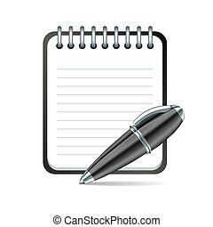 Vector pen and notepad icon - Yellow Pen and notepad icon...