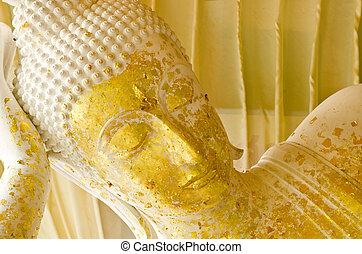 Sleeping Buddha in Thailand - Sleeping white Buddha statue...