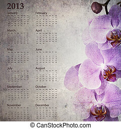 Vintage orchid calendar 2013 - Vintage orchid calendar for...