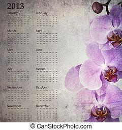 vindima, Calendário,  2013, orquídea