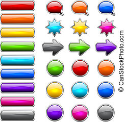 Modern buttons - Set of colored buttons in the shapes of...