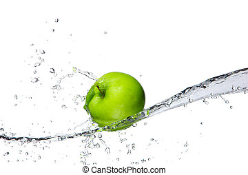 Fresh apple with water splashing, isolated on white...