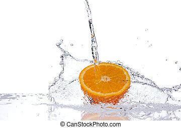 スライス, 隔離された, 水, はね返し, 背景, オレンジ, 白