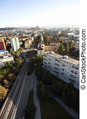 Highly detailed aerial city view with crossroads, roads, factories, houses, parks, parking lots, bridges, Brno, Czech Republic